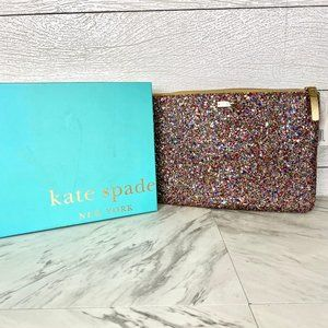 Kate Spade Multi Color Glitter Sparkler Clutch New